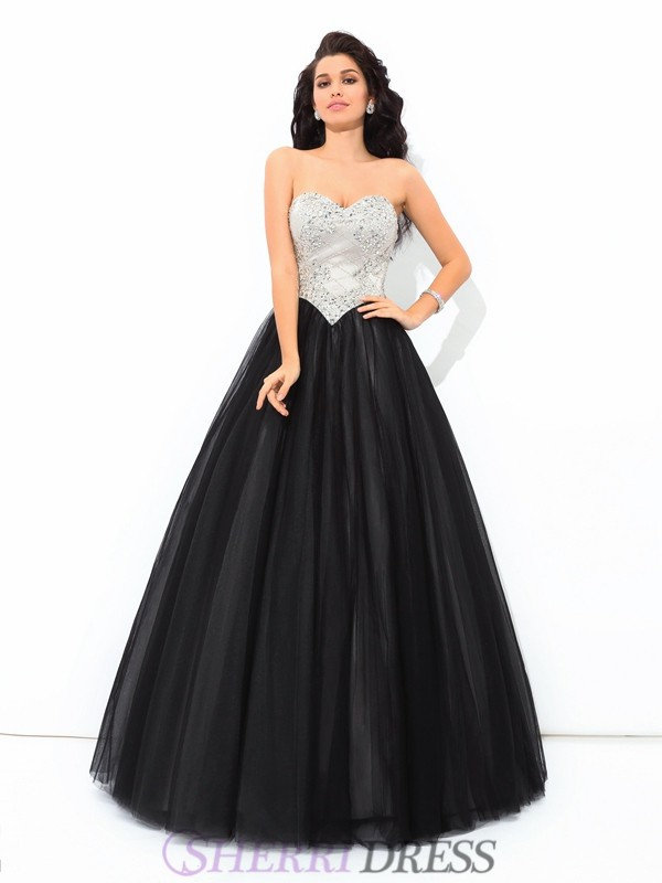 Ball Gown Sweetheart Net Sleeveless Floor-Length Quinceanera Dresses