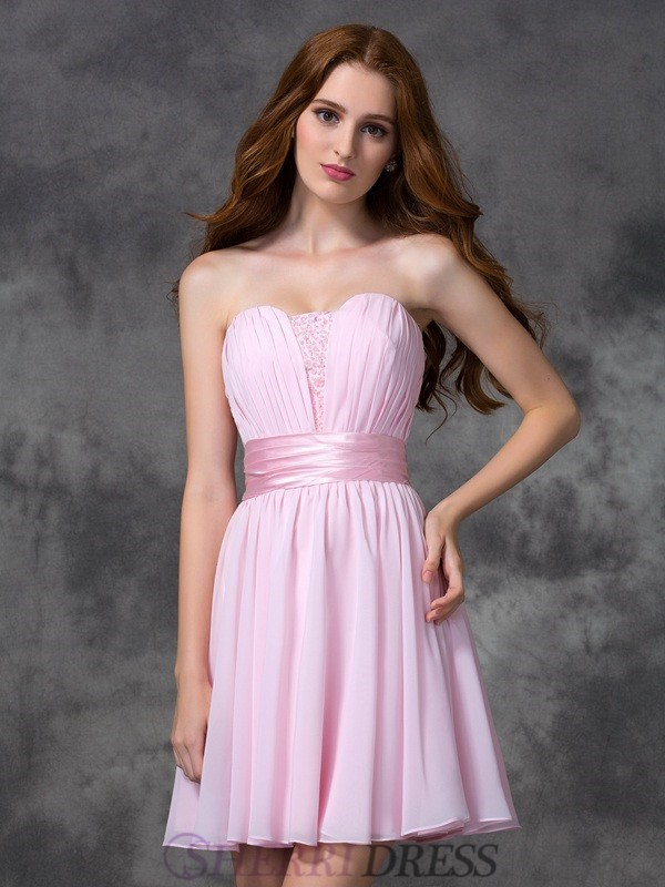 A-line/Princess Sweetheart Chiffon Sleeveless Short/Mini Prom Dresses