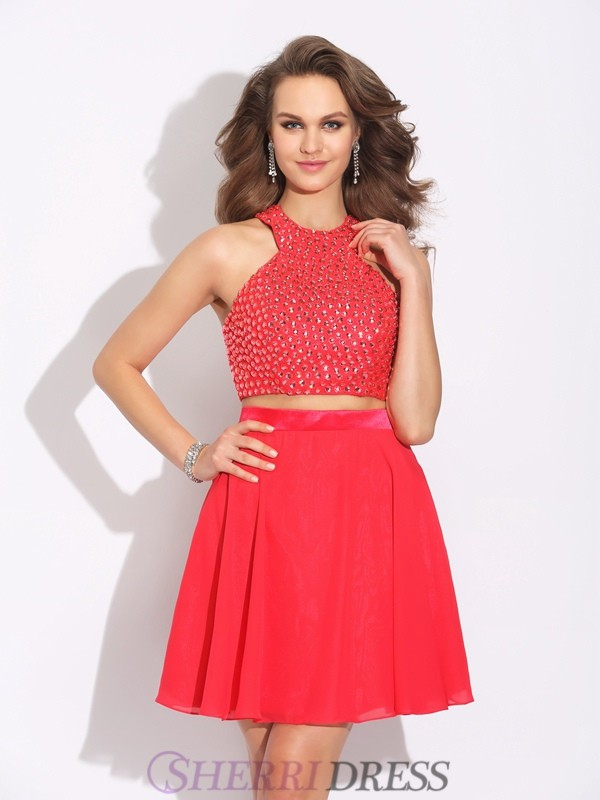A-Line/Princess Jewel Chiffon Sleeveless Short/Mini Two Piece Prom Dresses