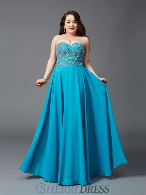 A-Line/Princess Sweetheart Chiffon Sleeveless Floor-Length Plus Size Prom Dresses