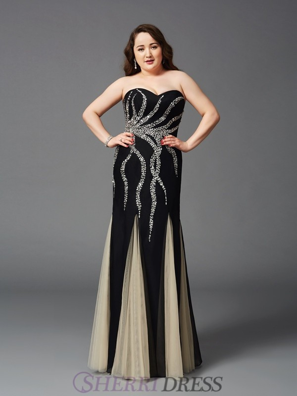 Sheath/Column Sweetheart Chiffon Sleeveless Floor-Length Plus Size Prom Dresses