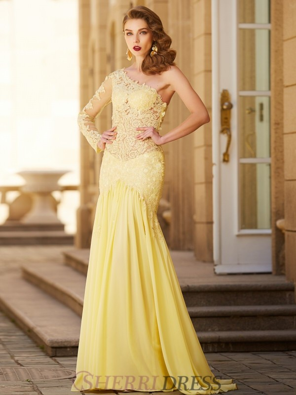 Sheath/Column One-Shoulder Chiffon Long Sleeves Sweep/Brush Train Dresses