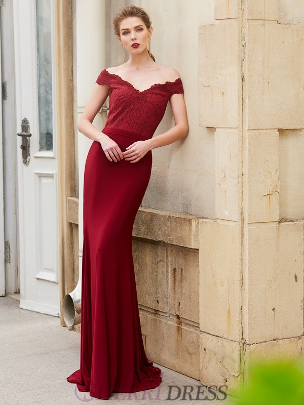 Trumpet/Mermaid Off-the-Shoulder Spandex Sleeveless Sweep/Brush Train Dresses