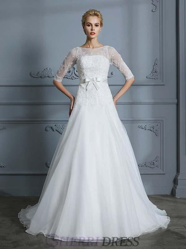 A-Line/Princess Scoop Tulle 1/2 Sleeves Court Train Wedding Dresses