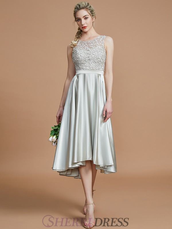 A-Line/Princess Bateau Silk like Satin Sleeveless Asymmetrical Bridesmaid Dresses