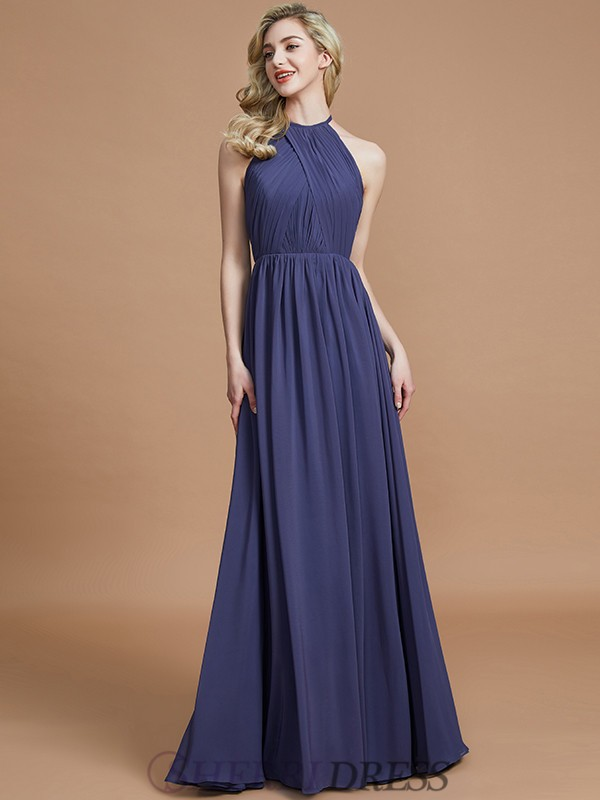 A-Line/Princess Scoop Chiffon Sleeveless Floor-Length Bridesmaid Dresses
