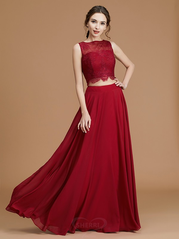A-Line/Princess Bateau Chiffon Sleeveless Floor-Length Bridesmaid Dresses