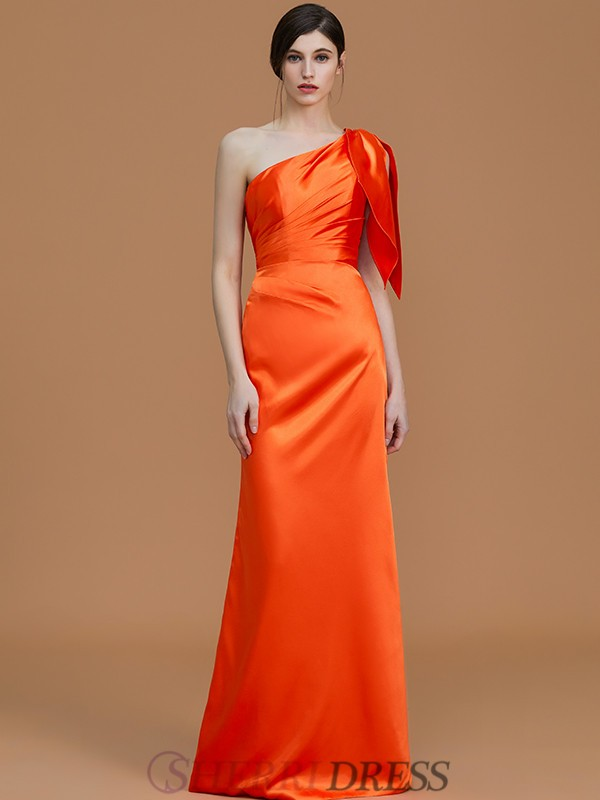 Trumpet/Mermaid One-Shoulder Satin Sleeveless Floor-Length Bridesmaid Dresses