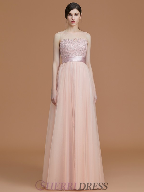 A-Line/Princess Bateau Tulle Sleeveless Floor-Length Bridesmaid Dresses