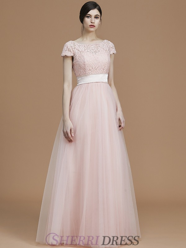 A-Line/Princess Bateau Tulle Short Sleeves Floor-Length Bridesmaid Dresses