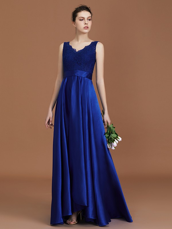 A-Line/Princess V-neck Satin Sleeveless Asymmetrical Bridesmaid Dresses