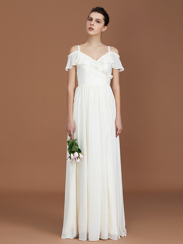 A-Line/Princess V-neck Chiffon Short Sleeves Floor-Length Bridesmaid Dresses