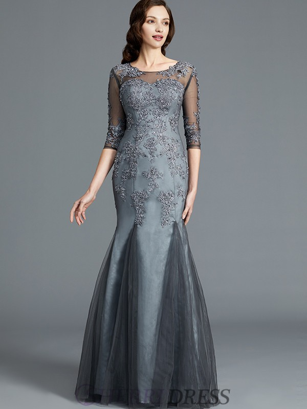 Sheath/Column Scoop Tulle 1/2 Sleeves Floor-Length Mother of the Bride Dresses