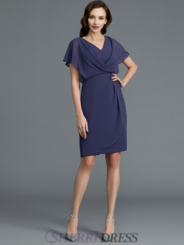 Sheath/Column V-neck Chiffon Short Sleeves Knee-Length Mother of the Bride Dresses