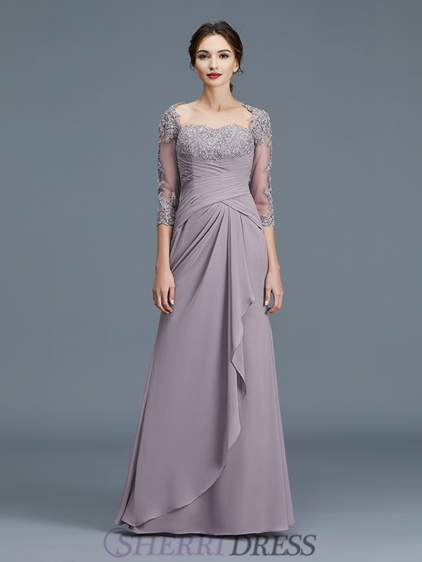Sheath/Column Sweetheart Chiffon 3/4 Sleeves Floor-Length Mother of the Bride Dresses