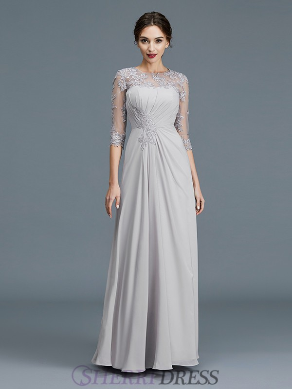 A-Line/Princess Scoop Chiffon 3/4 Sleeves Floor-Length Mother of the Bride Dresses