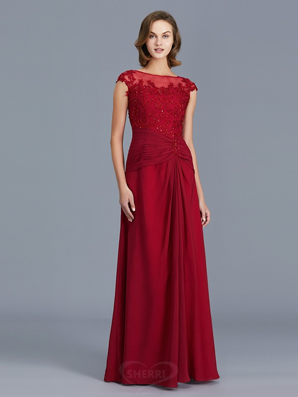 Sheath/Column Scoop Chiffon Sleeveless Floor-Length Mother of the Bride Dresses