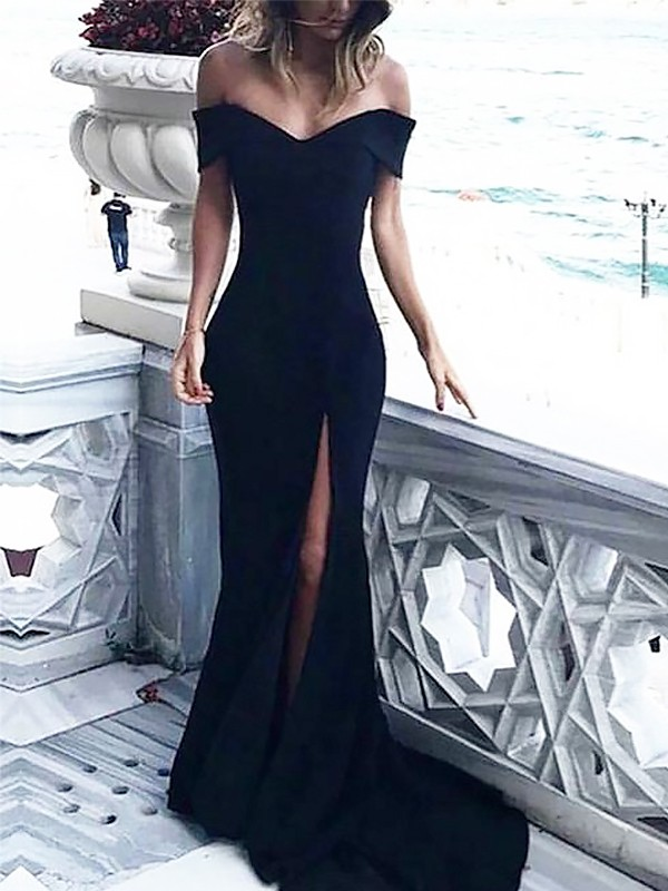 Sheath/Column Off-the-Shoulder Spandex Sleeveless Court Train Dresses