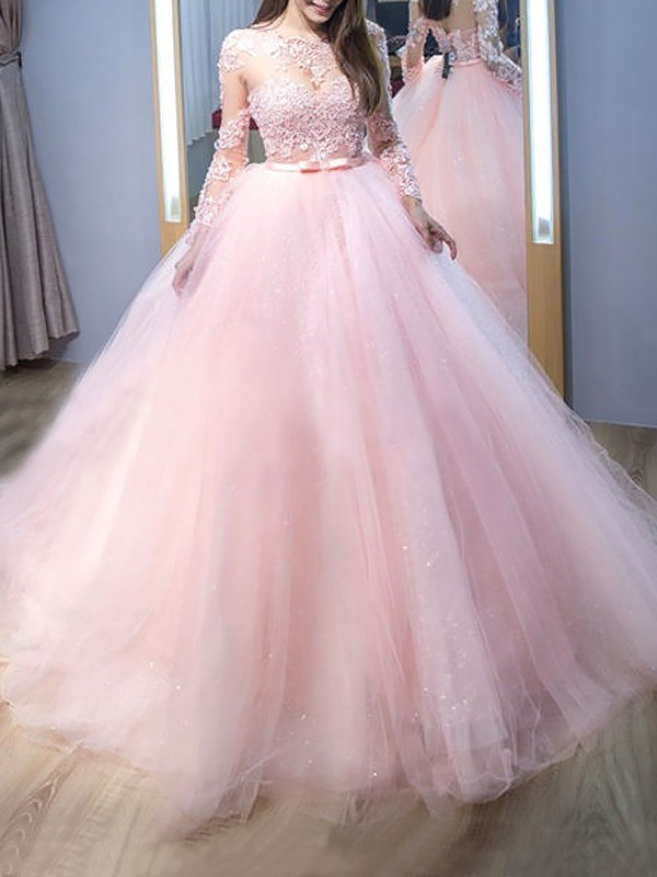 Ball Gown Jewel Tulle Long Sleeves Sweep/Brush Train Dresses