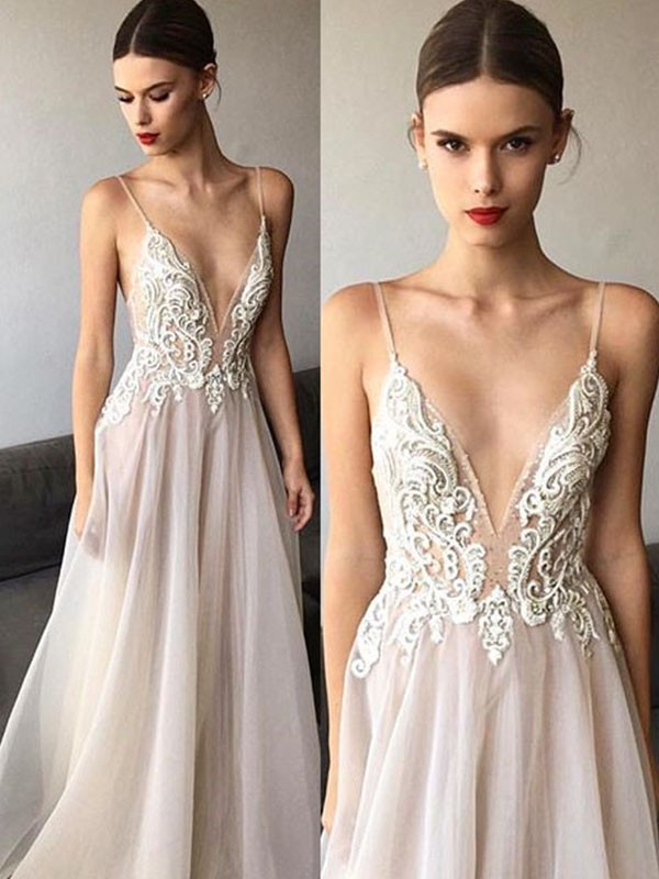 A-Line/Princess V-neck Tulle Sleeveless Sweep/Brush Train Wedding Dresses