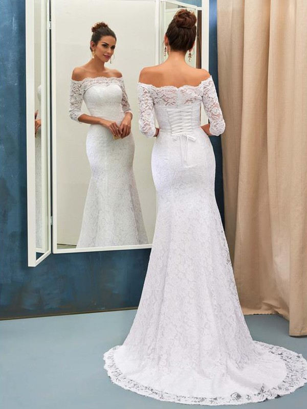 Trumpet/Mermaid Off-the-Shoulder Lace 1/2 Sleeves Sweep/Brush Train Wedding Dresses