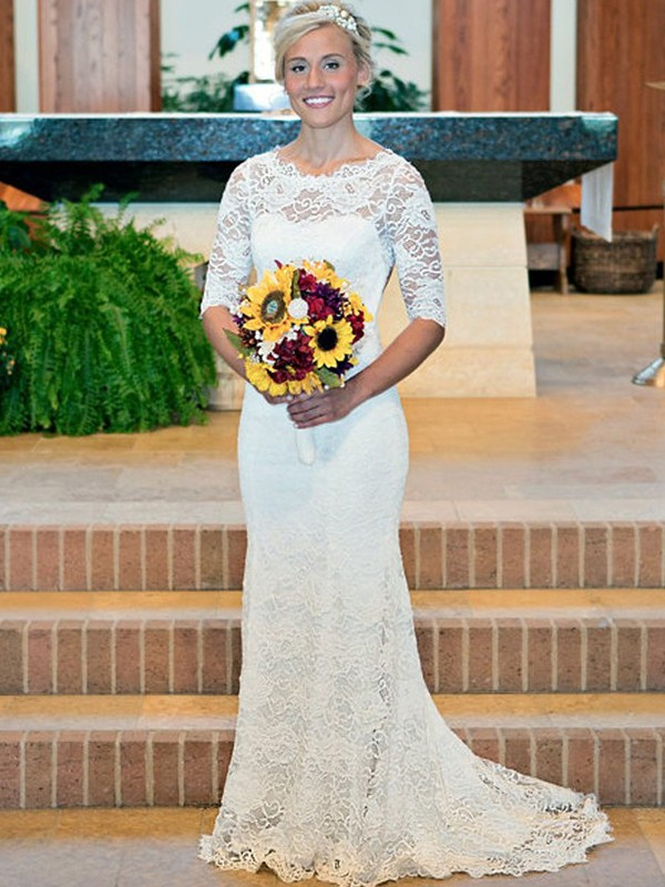 Sheath/Column Scoop Lace 1/2 Sleeves Sweep/Brush Train Wedding Dresses
