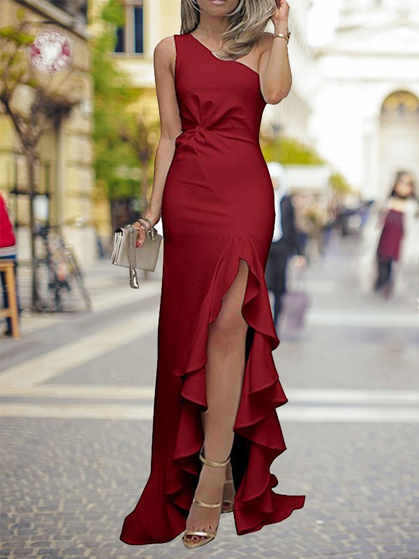 Sheath/Column One-Shoulder Silk like Satin Sleeveless Sweep/Brush Train Dresses