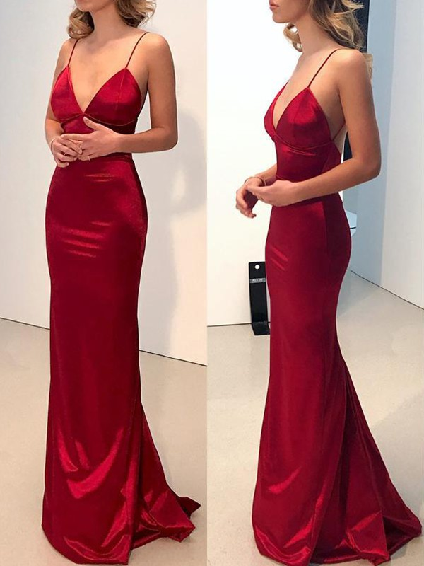 Sheath/Column Spaghetti Straps Satin Sleeveless Sweep/Brush Train Dresses