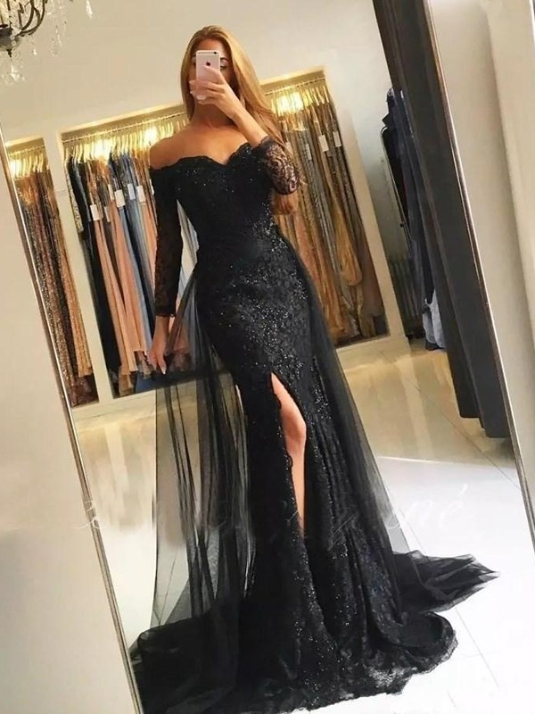 Trumpet/Mermaid Off-the-Shoulder Tulle Long Sleeves Sweep/Brush Train Dresses