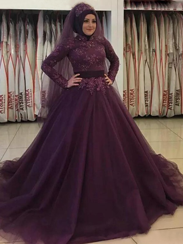 Ball Gown High Neck Tulle Long Sleeves Sweep/Brush Train Dresses
