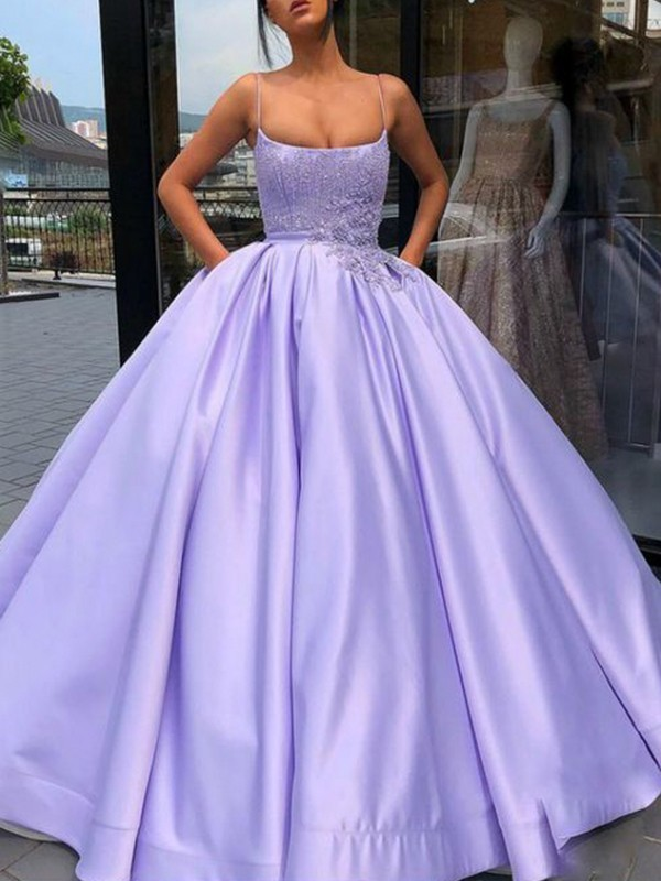 Ball Gown Spaghetti Straps Satin Sleeveless Floor-Length Dresses