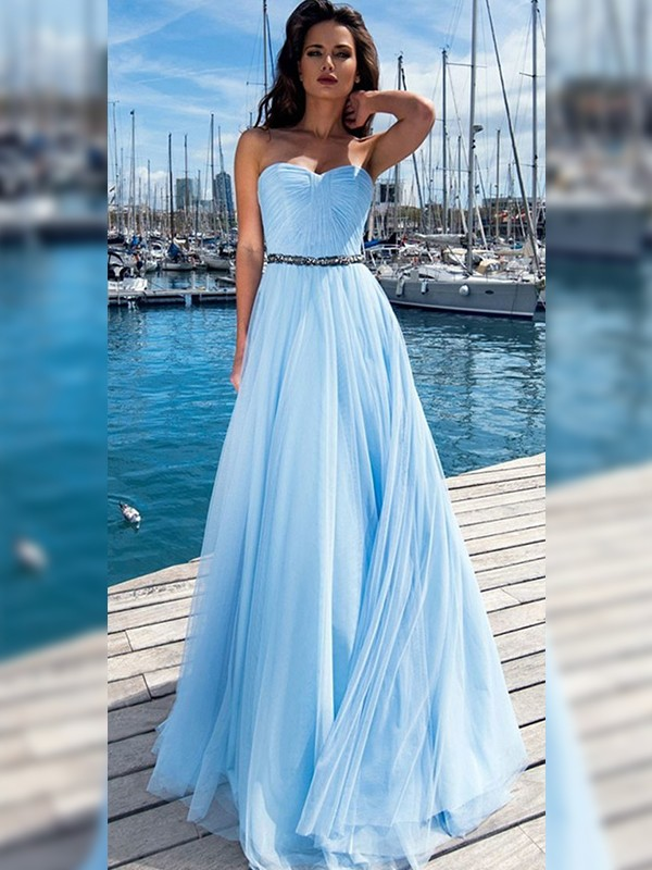 A-Line/Princess Sweetheart Sequins Sleeveless Floor-Length Dresses