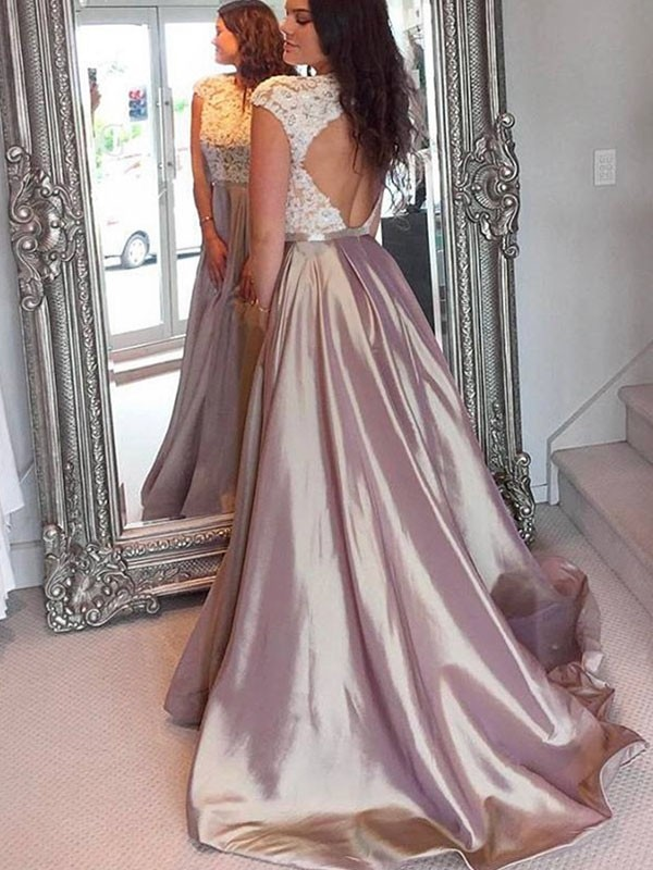 A-Line/Princess Jewel Satin Sleeveless Sweep/Brush Train Dresses