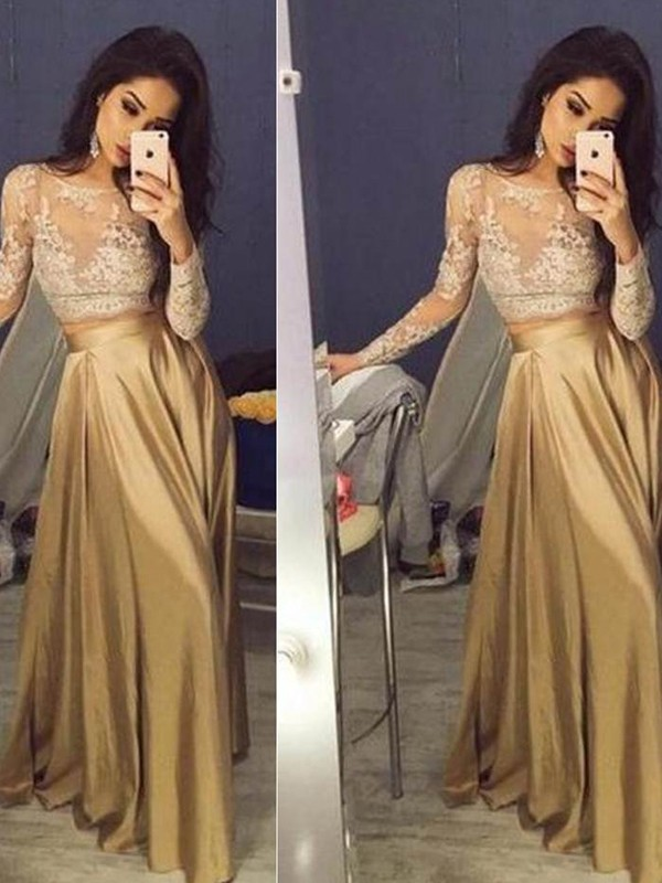 A-Line/Princess Scoop Satin Long Sleeves Floor-Length Two Piece Dresses
