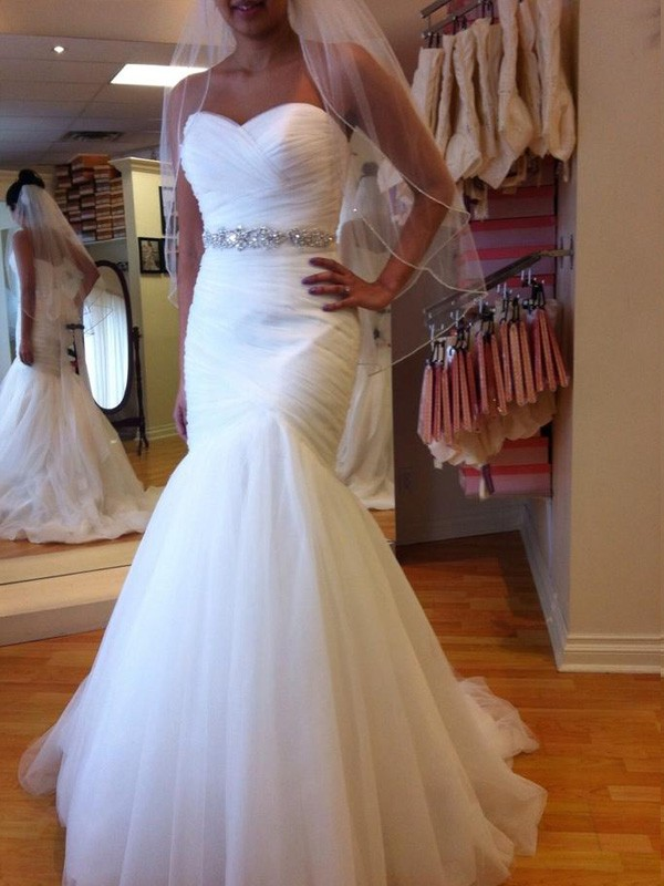 Trumpet/Mermaid Sweetheart Tulle Sleeveless Floor-Length Wedding Dresses