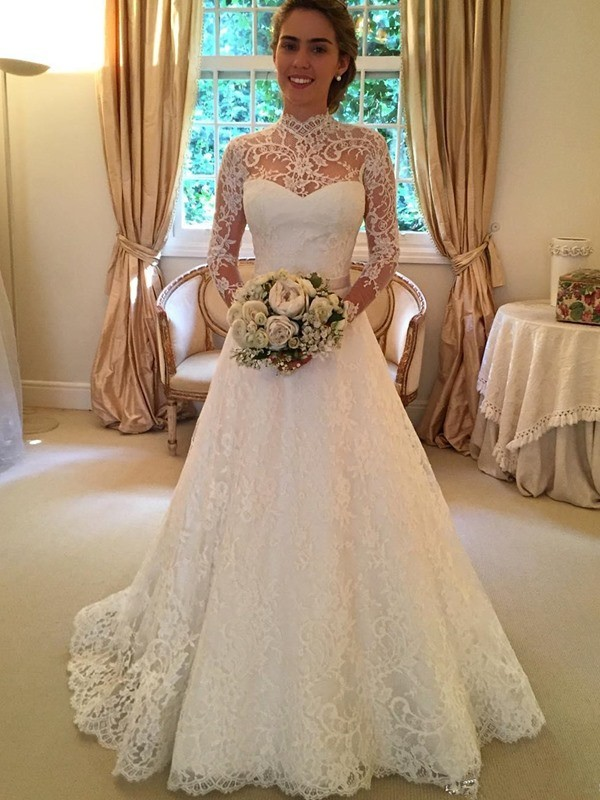 Ball Gown High Neck Lace Long Sleeves Court Train Wedding Dresses