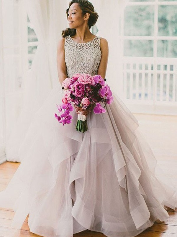 Ball Gown Scoop Organza Sleeveless Sweep/Brush Train Wedding Dresses