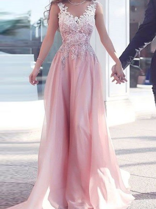 A-Line/Princess Sweetheart Chiffon Sleeveless Floor-Length Dresses