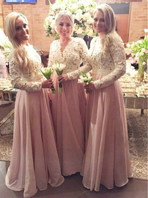 A-Line/Princess V-neck Chiffon Long Sleeves Floor-Length Bridesmaid Dresses