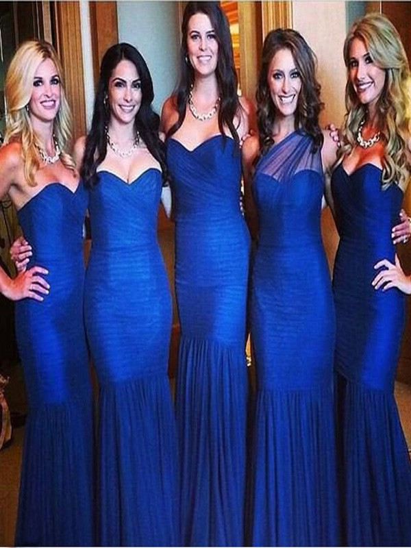Trumpet/Mermaid Sweetheart Tulle Sleeveless Floor-Length Bridesmaid Dresses