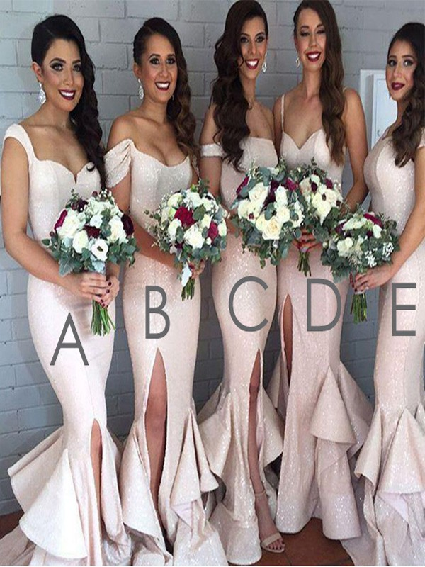 Trumpet/Mermaid Sequins Sleeveless Floor-Length Bridesmaid Dresses