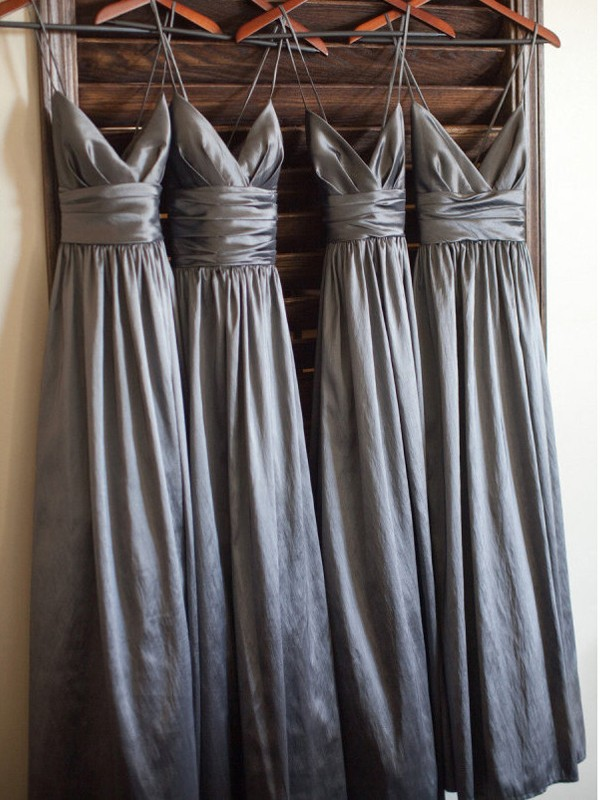 A-Line/Princess Spaghetti Straps Taffeta Sleeveless Floor-Length Bridesmaid Dresses