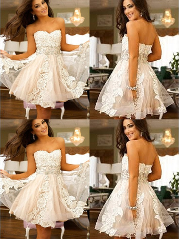 A-line/Princess Sweetheart Tulle Sleeveless Short/Mini Dresses