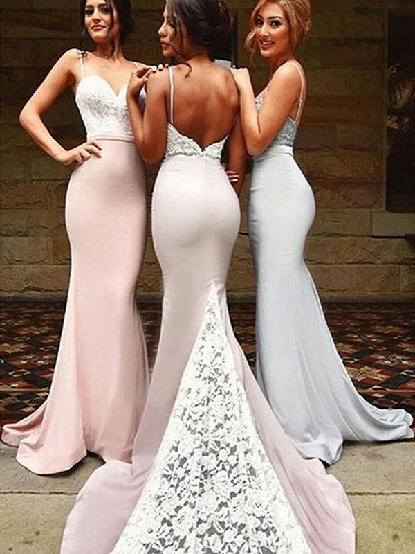 Trumpet/Mermaid Sweetheart Spandex Sleeveless Sweep/Brush Train Bridesmaid Dresses