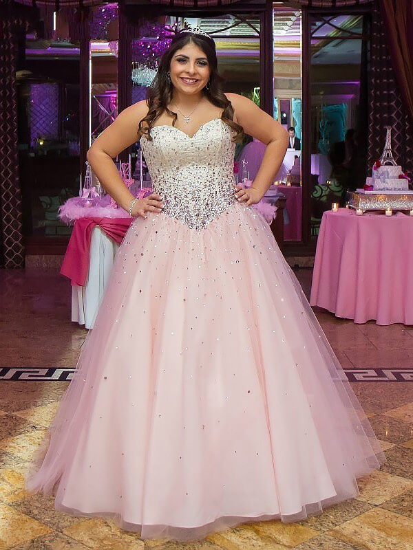 Ball Gown Sweetheart Tulle Sleeveless Floor-Length Plus Size Dresses
