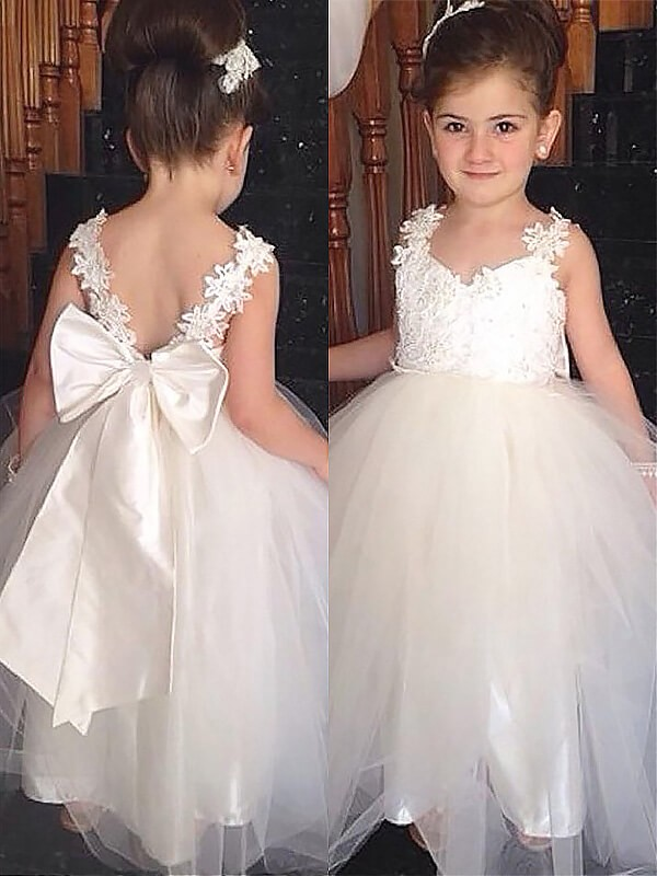 Ball Gown Sweetheart Tulle Sleeveless Floor-Length Flower Girl Dresses