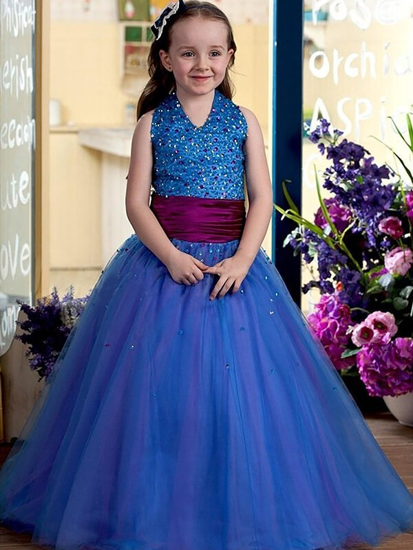 Ball Gown Halter Tulle Sleeveless Floor-Length Flower Girl Dresses