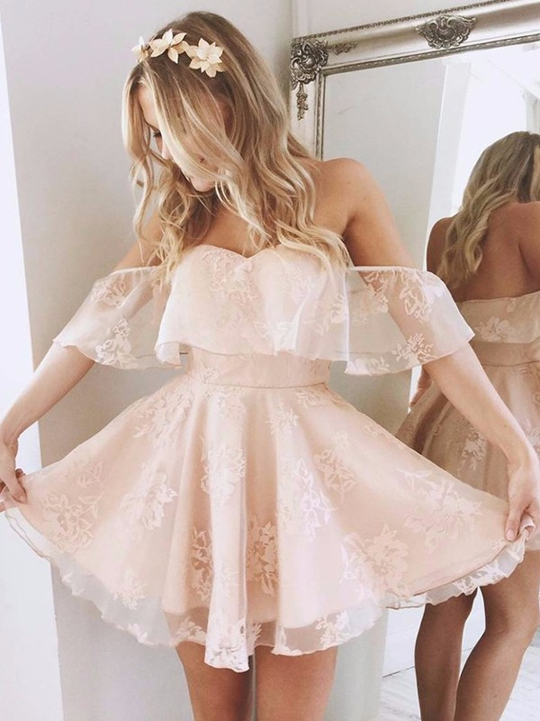 A-line/Princess Off-the-Shoulder Lace Sleeveless Short/Mini Dresses