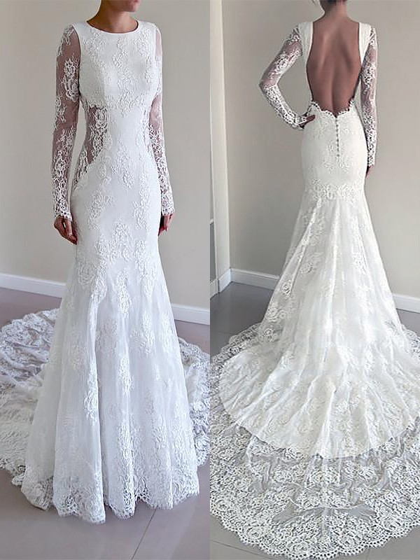 Trumpet/Mermaid Scoop Lace Long Sleeves Court Train Wedding Dresses