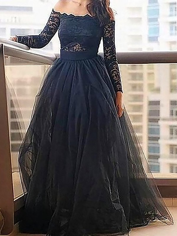 A-Line/Princess Off-the-Shoulder Tulle Long Sleeves Floor-Length Prom Dresses